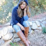Blue hooded poncho