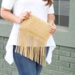 Suede fringe clutch purse